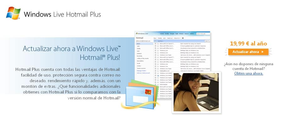 Windows live hotmail plus