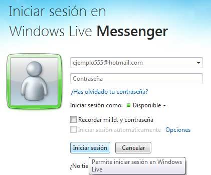 Messenger iniciar sesion