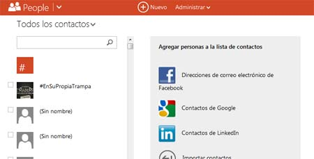 contactos en outlook correo