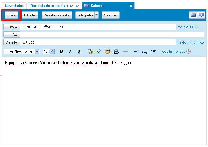 enviar correo yahoo