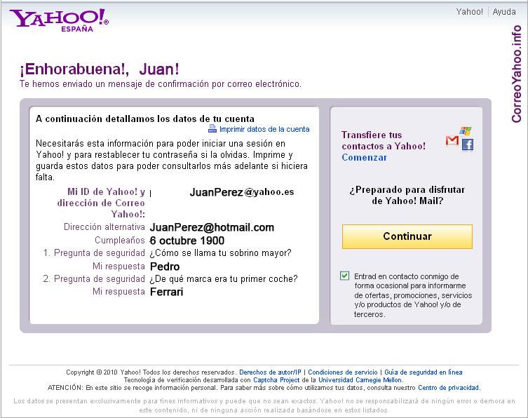 formulario de registro del correo yahoo