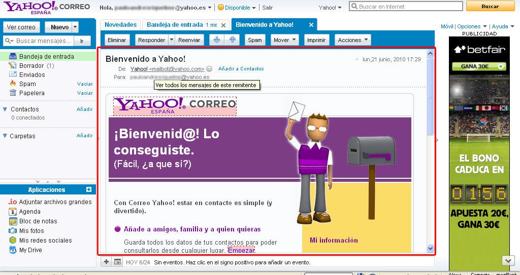 leer correo yahoo con doble click